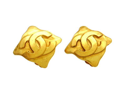 Vintage Chanel earrings CC logo rhombus