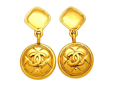 Vintage Chanel earrings CC logo quilted round dangle