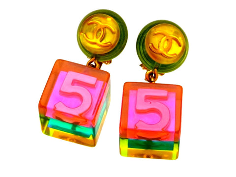 Vintage Chanel earrings pink No.5 cube dangle