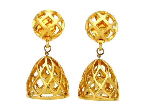 Vintage Chanel earrings CC logo bell dangle