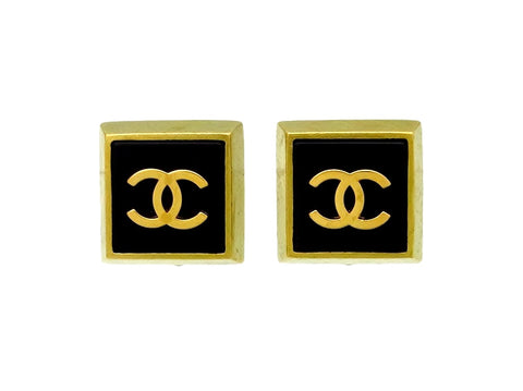 Vintage Chanel earrings CC logo black square
