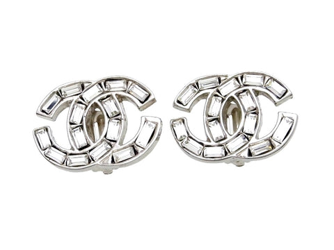 Vintage Chanel earrings CC logo rhinestone