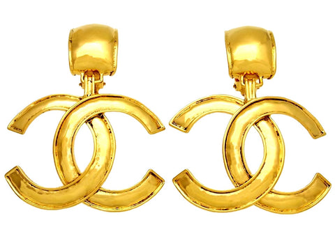 Vintage Chanel earrings big CC logo dangle