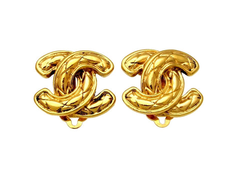 Vintage Chanel earrings quilted CC logo