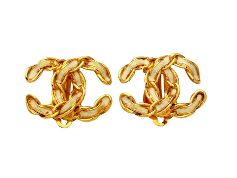 Vintage Chanel earrings CC logo white paint