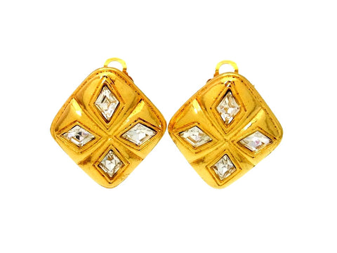 Vintage Chanel earrings rhinestone rhombus