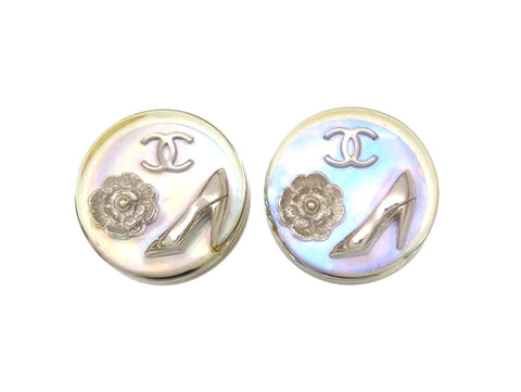 Vintage Chanel earrings CC logo plastic silver color