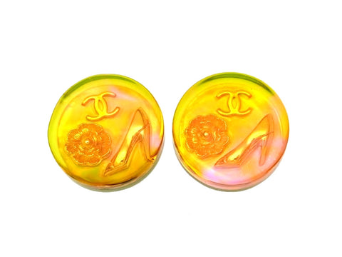 Vintage Chanel earrings CC logo plastic orange