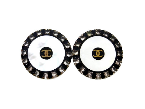 Vintage Chanel earrings CC logo rhinestone round