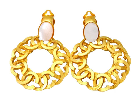 Vintage Chanel earrings CC logo hoop white stone