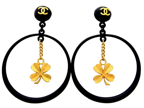 Vintage Chanel earrings CC logo black hoop clover dangle