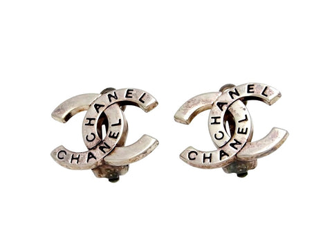 Vintage Chanel earrings CC logo silver color