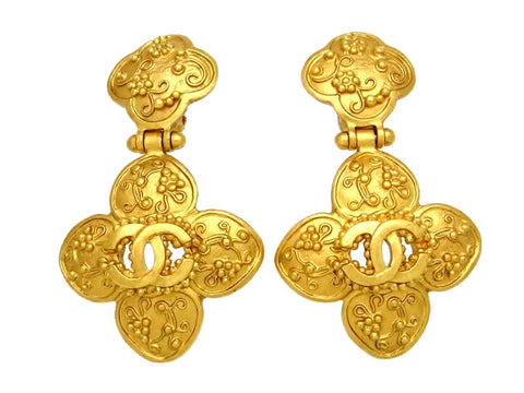 Vintage Chanel earrings CC logo flower dangle