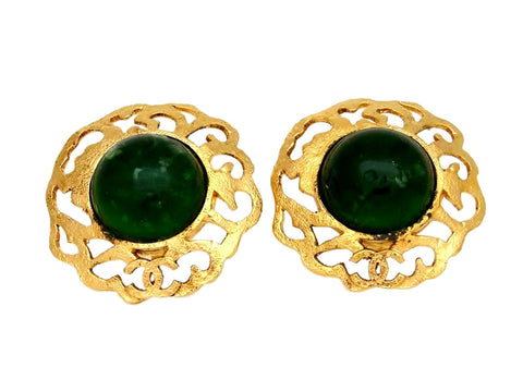 Vintage Chanel earrings CC logo green stone