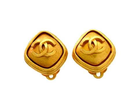 Vintage Chanel earrings CC logo rhombus small