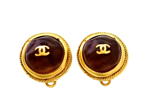 Vintage Chanel earrings CC logo brown glass stone