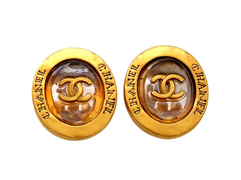 Vintage Chanel earrings CC logo round clear glass