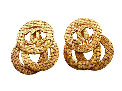 Vintage Chanel earrings CC logo hoops