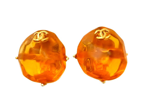 Vintage Chanel earrings CC logo orange plastc stone