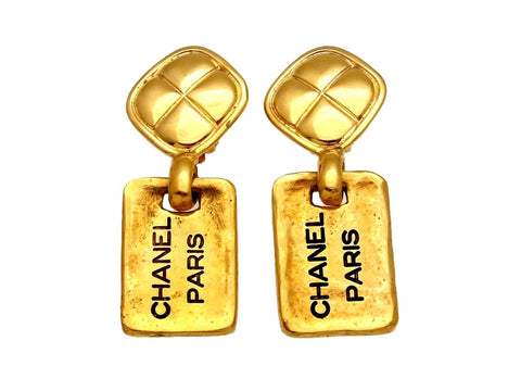 Vintage Chanel earrings logo plate dangle