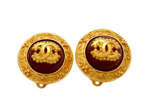 Vintage Chanel earrings CC logo round red stone