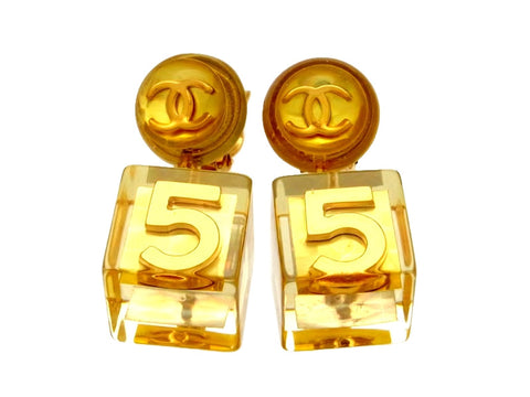Vintage Chanel earrings gold No.5 cube dangle