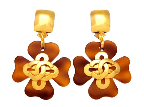 Vintage Chanel earrings CC logo brown clover dangle