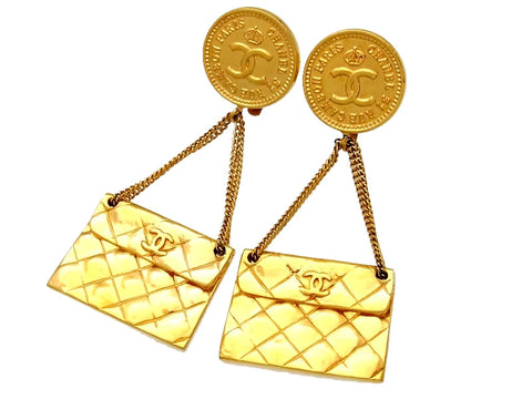 Vintage Chanel earrings CC logo 2.55 flap bag dangle