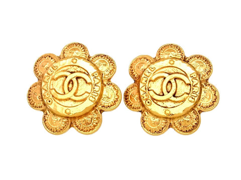 Vintage Chanel earrings CC logo sun round