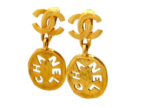 Vintage Chanel earrings CC logo plate dangle