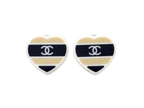 Vintage Chanel earrings CC logo plastic heart