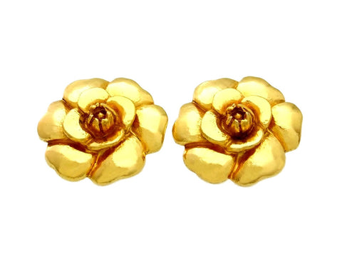 Vintage Chanel earrings large camellia flower