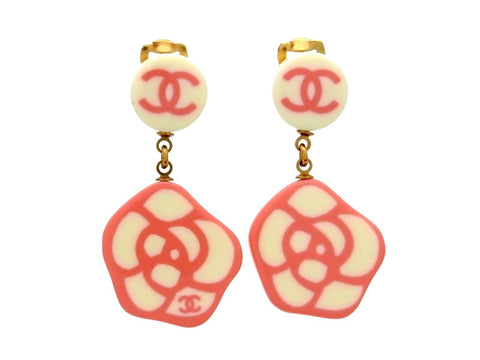 Vintage Chanel earrings camellia dangle plastic