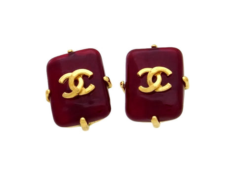 Vintage Chanel earrings CC logo red glass stone