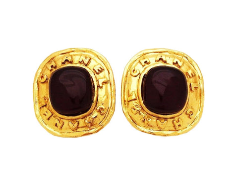 Vintage Chanel earrings red stone
