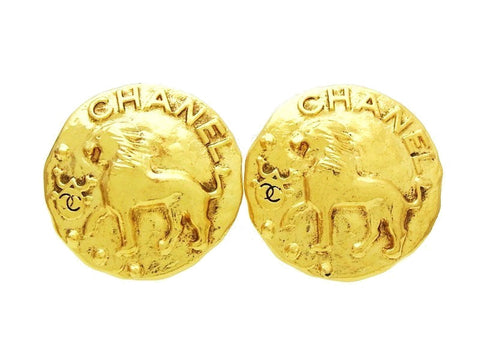 Vintage Chanel earrings Lion large medal