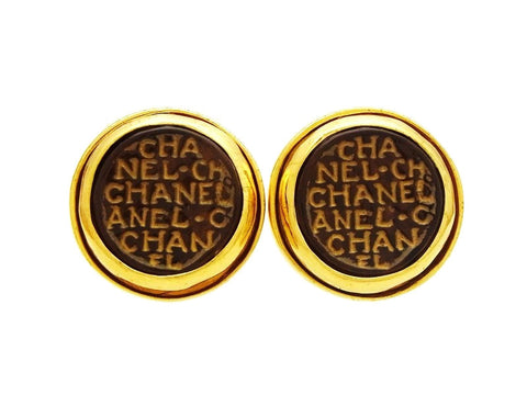 Vintage Chanel earrings logo brown glass stone
