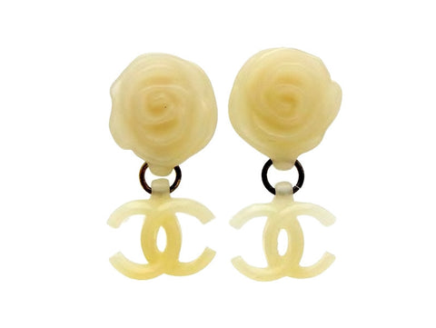 Vintage Chanel earrings Camellia CC logo dangle