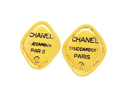 Vintage Chanel earrings logo rhombus