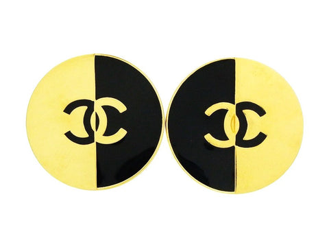 Vintage Chanel earrings CC logo black gold