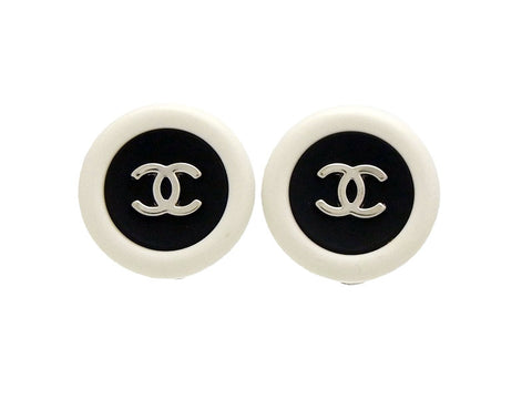Vintage Chanel earrings CC logo white black