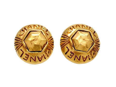 Vintage Chanel earrings logo gold stone