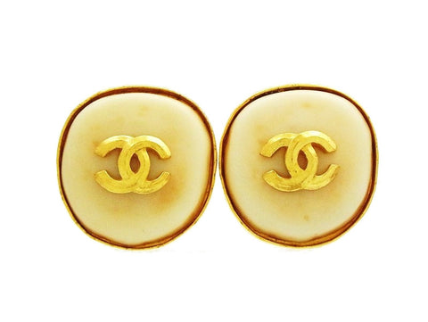 Vintage Chanel earrings CC logo white stone