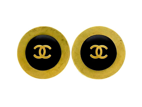 Vintage Chanel earrings CC logo black color