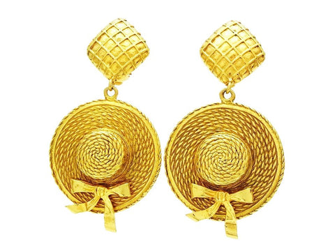 Vintage Chanel earrings straw hat dangle