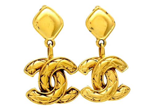 Vintage Chanel earrings quilted CC logo dangle