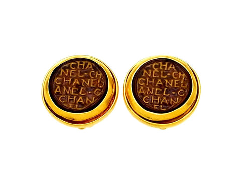 Vintage Chanel earrings logo glass stone round