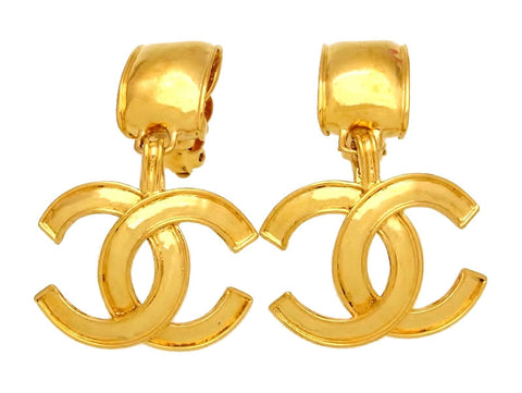 Vintage Chanel earrings large CC logo dangle