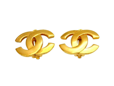 Vintage Chanel earrings CC logo gold tone