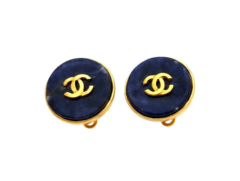 Vintage Chanel earrings CC logo navy stone